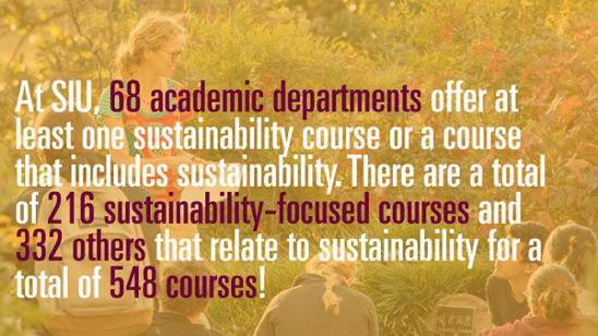 At SIU, 68 academic departments offer at least one sustainability course or a course that includes sustainability. There are a total of 216 sustainability-focused courses and 332 others that relate to sustainability for a total of 548 courses!