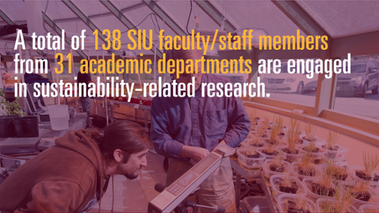 A total of 138 SIU faculty/staff members from 31 academic departments are engaged in sustainability-related research.