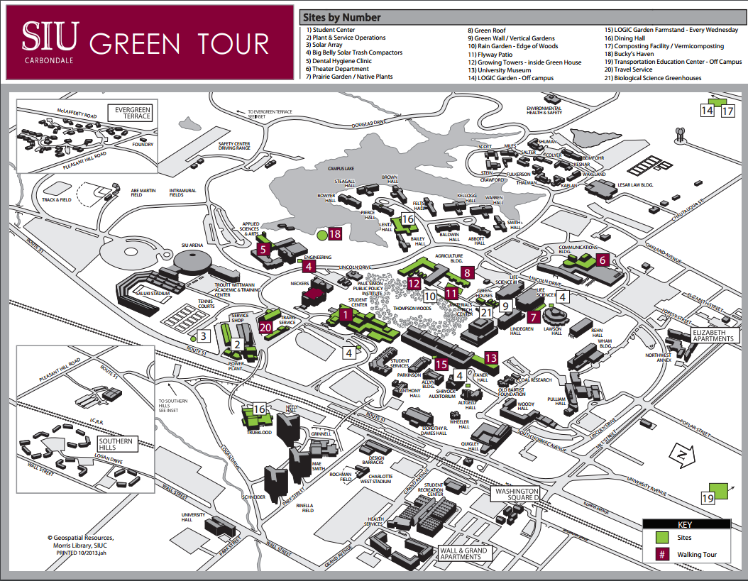 Green Tour | Sustainability | SIU on university of illinois at chicago map, siuc parking map, slc campus map, smith campus map, u of i campus map, u of m campus map, uiuc campus map, new college of florida campus map, wiu campus map, siuc campus map, bac campus map, su campus map, southern illinois university map, iuoe map, wu campus map, ma campus map, brown campus map, bnsf campus map, siue campus map, iowa campus map,