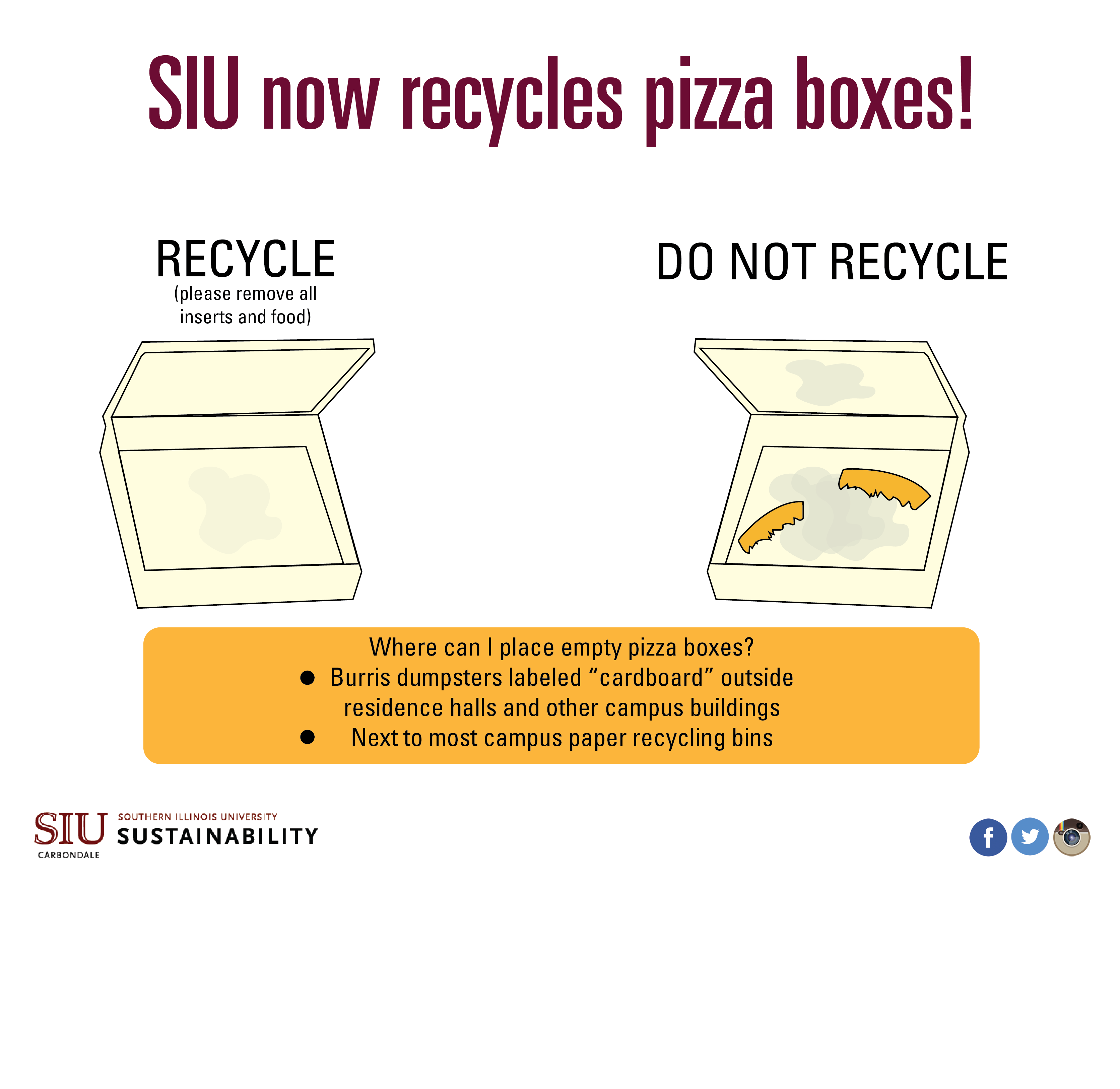 Pizza boxes can be recycled at SIU. All food and inserts should be removed.
