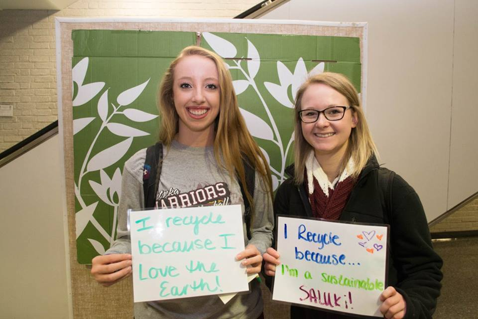 """I recycle because I love the earth"" ""I recycle because I'm a sustainable saluki!"""
